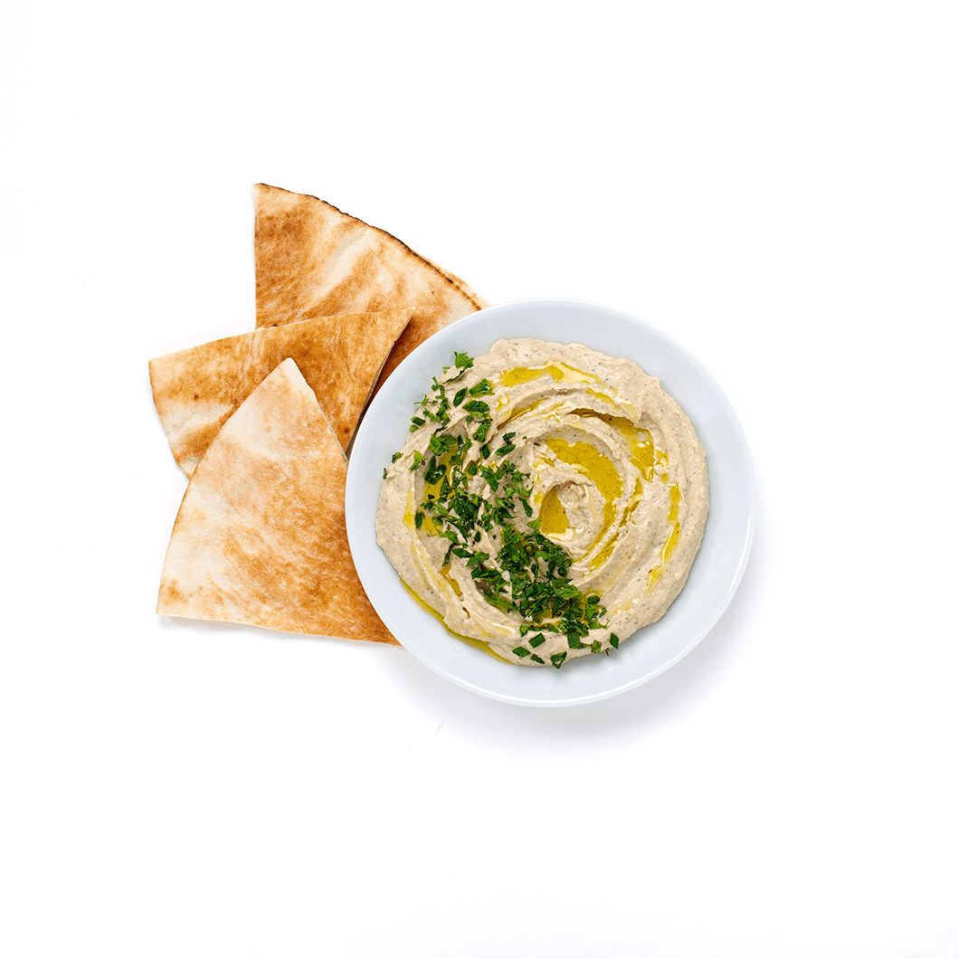 black truffle hummus with pita