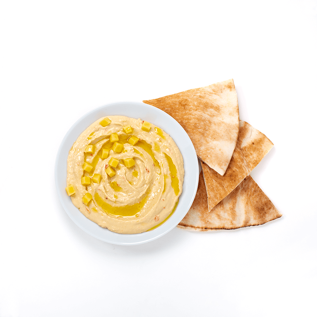 spicy hummus with mango and pita